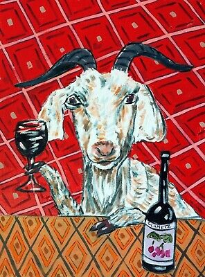"Goat art, goat prints, 8x10"" goat art print wine signed by artist, goat gifts"