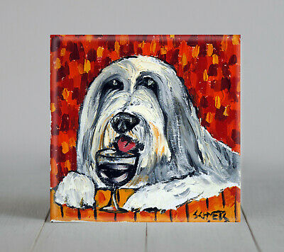 bearded collie at the wine bar gift animal ceramic  dog art tile coaster