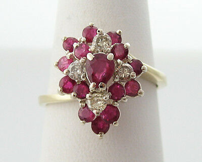 Estate Natural Ruby Diamonds Solid 14k Gold Cocktail Ring FREE Sizing