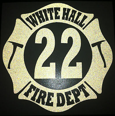 <<<REFLECTIVE>>> Custom Firefighter Dept, Station, Shift Decal Rescue Sticker