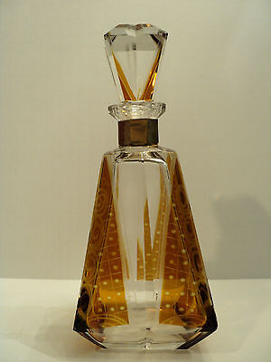 Beautiful Moser Bohemian Cut Engraved Amber Flashed Glass Decanter