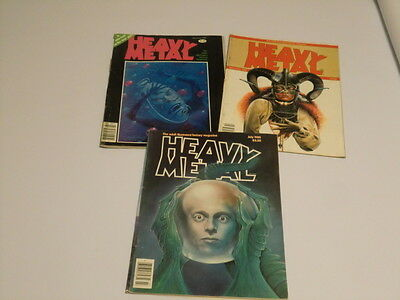 Heavy Metal Magazines, 1980, 3 issues,