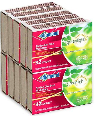 10 Boxes Diamond Wood PENNY MATCHES 32 x 10=320 STRIKE ON BOX green wooden match
