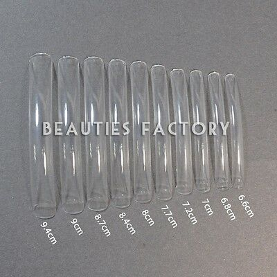 100 PCS Long Clear False Acrylic Gel French Nail Art Half Tips Salon #L02Nails