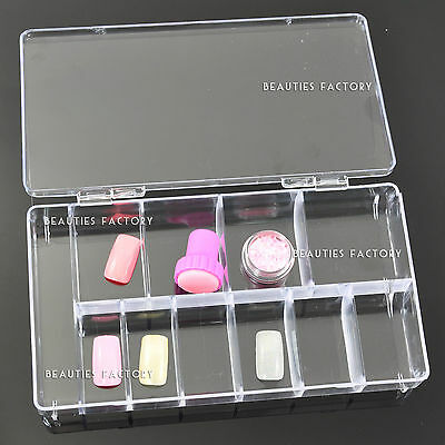 11 Compartment Clear Plastic Empty Nail Art Box Tip Storage Case Wholesale Gift
