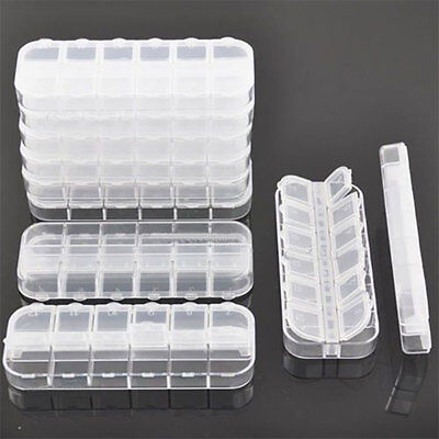 10X Clear Box Holder for Nail Art Brushes Storage Container Nail Accessories 217