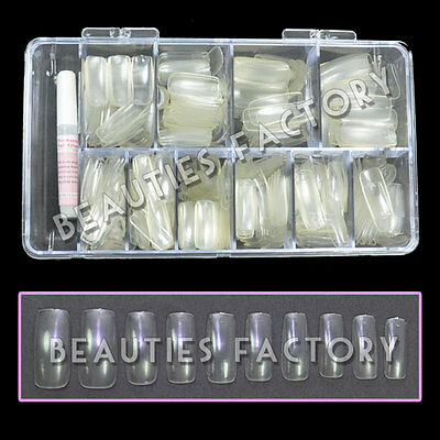 BF 500x Professional Clear Nail Tips with Tip Box & Glue Nail Art Display #455U