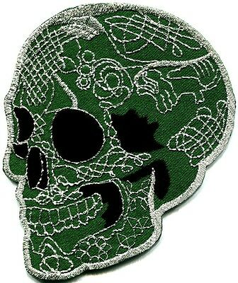 Skull tattoo biker horror goth punk emo rock retro applique iron-on patch G-73