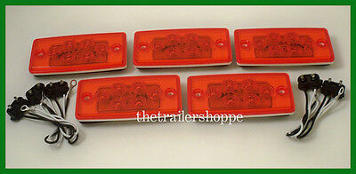 Set 5 Flush Mount Volvo Freightliner Roof Cab Clearance Marker Light LED Red