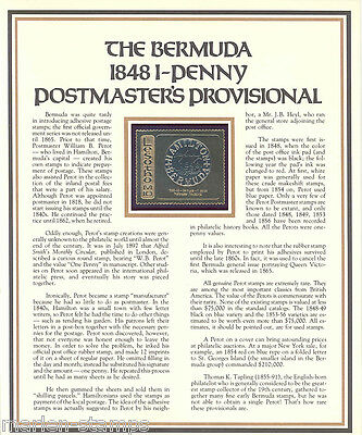 Lesotho Bermuda 1848 1 Penny Postmaster's Provis Commemorative On Gold Foil Mint
