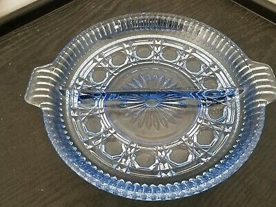 BEAUTIFUL CLEAR BLUE GLASS DIVIDED RELISH/CANDY DISH