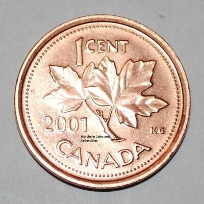 2001 1 Cent Canada Zinc Nice Uncirculated Canadian Penny
