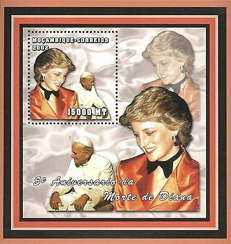 Mozambique 2002 Stamp, MOZ2106B Princess Diana, Important People S/S 2