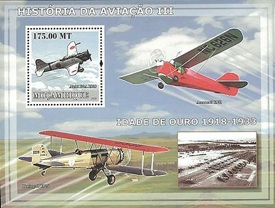 Mozambique 2009 Stamp, MOZ9227B Aviation III, Aircraft, Airplane, transport S/S
