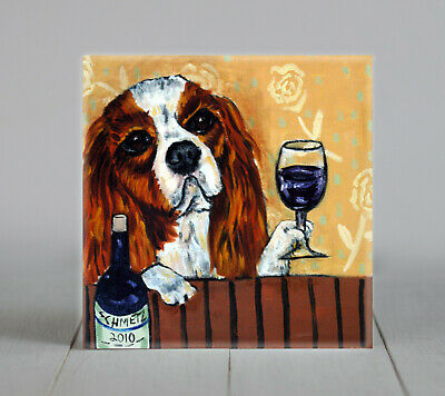 Cavalier King charles spaniel wine art dog coaster tile animals