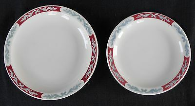 """Syracuse China * EMBASSY * 5.5"""" & 6.5"""" Plate * Maroon (Red) Grey White * Scroll"""