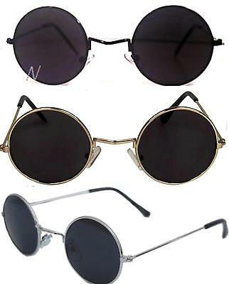 John Lennon Sunglasses Round  Shades Retro Black or Silver Frame Smoked Lenses