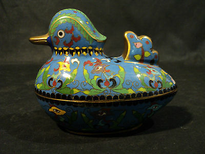Vintage Novelty Cloisonne Enamel on Brass Mandarin Duck Box (#1)