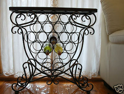 Handmade Iron Elegant French Bottle Wine Rack Storage Console Table MDF Top