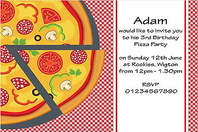 pizza party invitations kids birthday invites a6 postcards pack