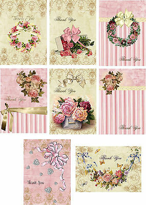 Vintage inspired Tea pansies stationery cards 8 ATC altered art with organza bag