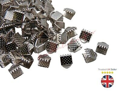 50 x Antique Silver Colour Ribbon End Clasps 8mm x 6mm Craft Findings E200