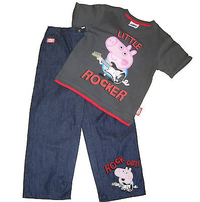 Baby Boys Outfit/ 2 Piece Set Peppa/george Pig 6 -9 9-12 12-18 & 18-24 Months