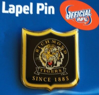 Afl Badge Lapel Shield Pin Richmond Tigers Football Freight Free New On Card