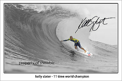 * KELLY SLATER * signed autographed poster of surfing legend!! large size