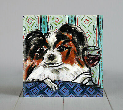 PAPILLON at the wine bar gift ceramic dog art tile coaster