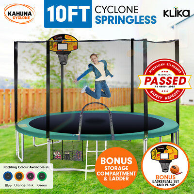 10ft 8-POST SPRINGLESS TRAMPOLINE FREE SAFETY NET+PAD+MAT+LADDER+BASKETBALL SET