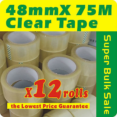 12 x Rolls Clear Sealing Packaging Tape 48mm x 75m 45 Micron