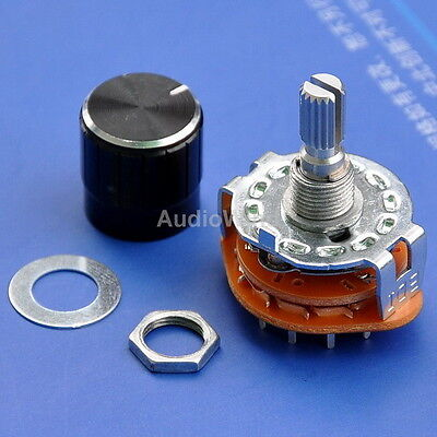 4 Pole 3 Way MBB Rotary Switches, with Knobs, 4PCS