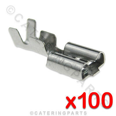 100 x HEAT RESISTANT HIGH TEMPERATURE 6.3mm PUSH FIT SPADE TERMINAL CONNECTORS