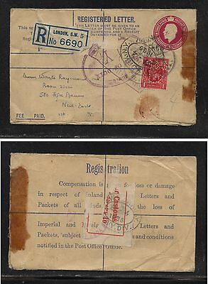 Great Britain  uprated regsitered envelope to US  perfin stamp            MS0128