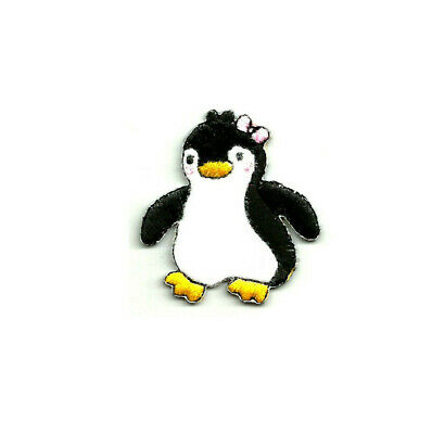 Penguin Girl W/pink Bow ~ Soft Felt/embroidered ~  Iron On Applique