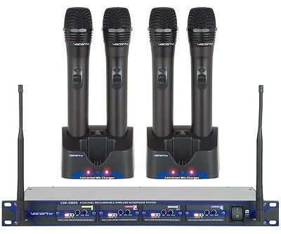 VocoPro UHF 5805 900MHz 4 Channel Rechargeable Wireless Microphone Set 9 Or 10