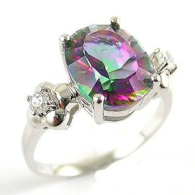 3.5ct Rainbow Topaz Ring 925 Sterling Silver Oval Concave Size 6 7 8 9