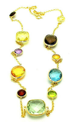 """14K Yellow Gold Station Necklace With Faceted Cushion Round & Oval Gemstones 20"""""""