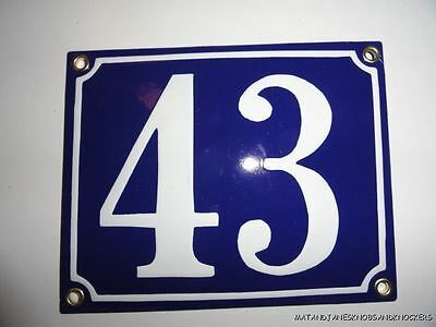 Edwardian Style Blue Enamel Metal Door Number 43 Sign Plaque