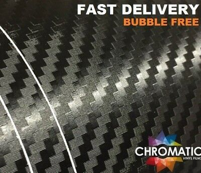 3D Carbon Fibre Vinyl 152 x 50cm Sheet - Black - Bubble Free Air Drain Car Wrap