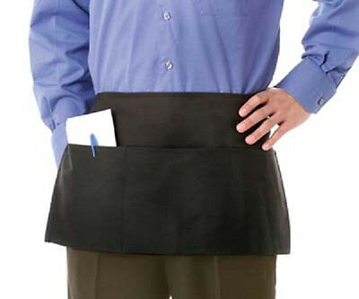 1 New Black 3 Pocket Spun Poly Restaurant Waiter Server Barista Waist Apron