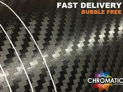 3D Carbon Fibre Vinyl Wrap 30 x 20cm - Black - Bubble Free Car Wrapping Film