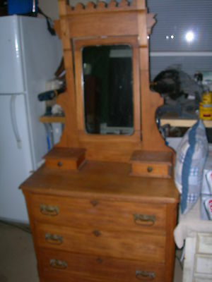 Antique Vintage 2 over 3 Drawer Dresser Mirror Primative Early American Furnitur