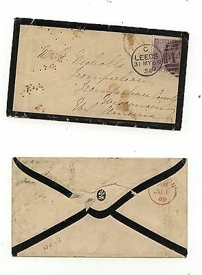 Great  Britain  51 plate 8 on cover to US  1869   catalog $160.00      KL0112-9