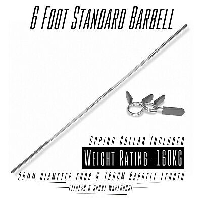 6 Foot Standard Barbell With Spring Collar Gym Weight Bench