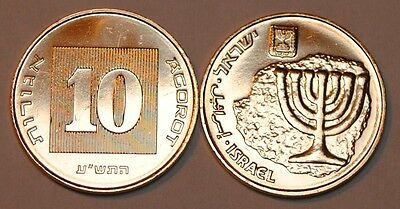 Israel 2010 10 Agorot BU From A Mint Roll UNC KM# 158