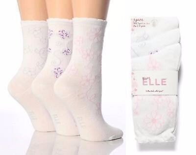 Elle Brand Ladies / Girls Socks Various Sizes and Designs 3 Pairs  in a Pack