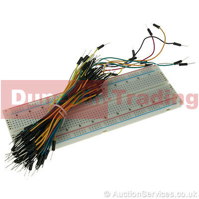 Solderless Full Prototype Breadboard & Jumper Cables for Arduino - 65pc Wire Kit