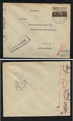 Bulgaria  airmail stamp on nice censor cover to Austria          FL0219